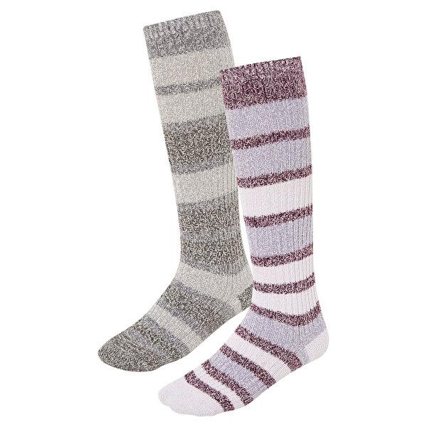 Super Soft Canyon Stripe Crew 2li Kadın Çorap